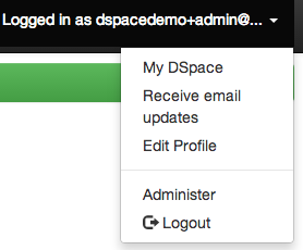 Screenshot of the top right dropdown in JSPUI, highlighting the option to receive email updates.