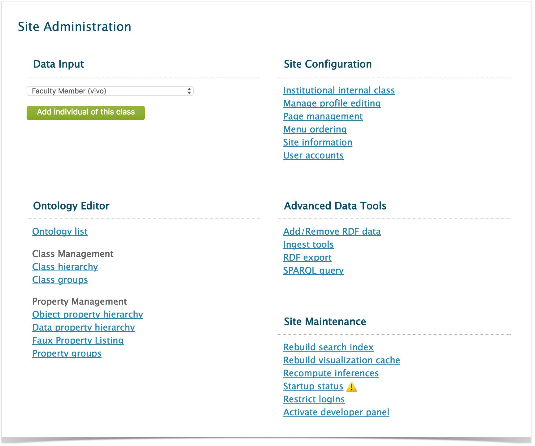 The Site Administration Page VIVO 19x Documentation DuraSpace Wiki